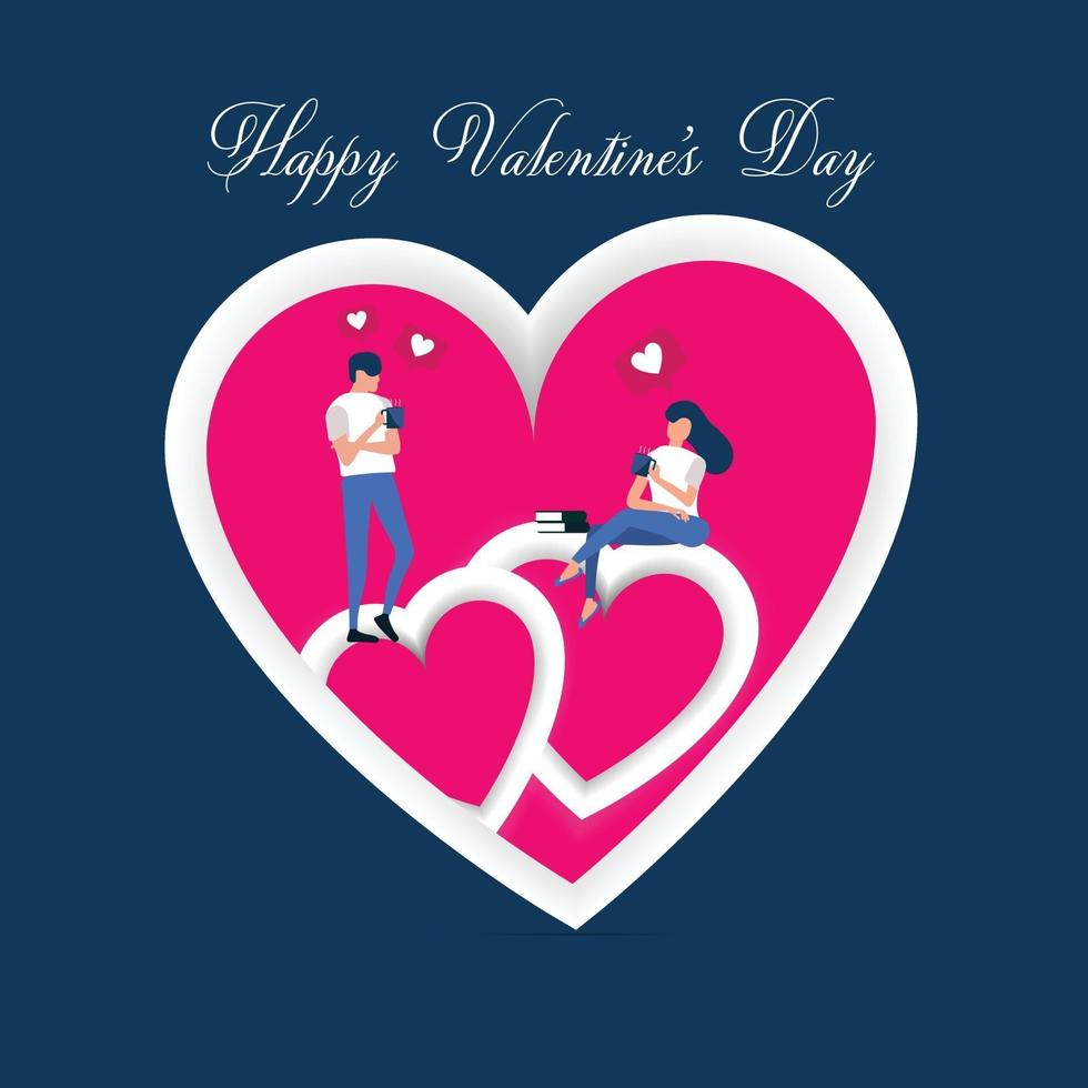 sfondo di San Valentino, coppia di innamorati bere caffè, parlare e innamorarsi di cuore rosa, carta e sfondo vettore