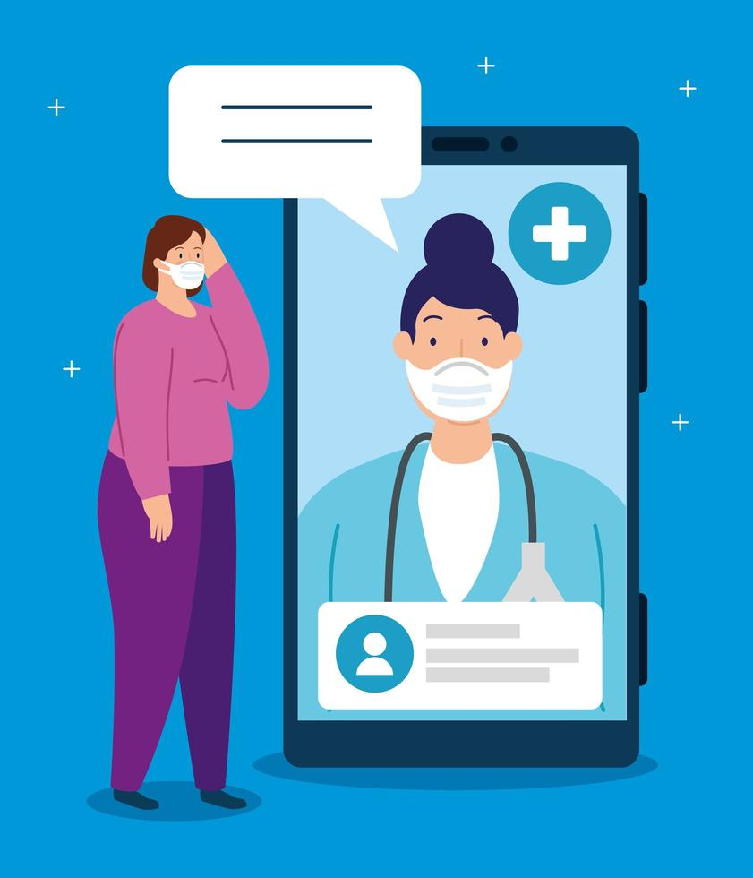 tecnologia di telemedicina con dottoressa in laptop con paziente vettore