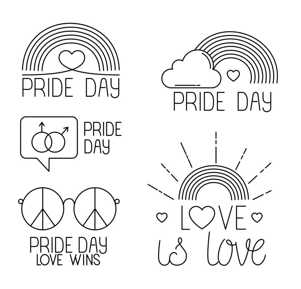 pacchetto di icone del giorno dell'orgoglio, stile della linea vettore