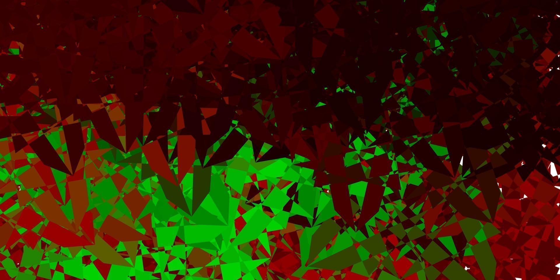 trama vettoriale verde chiaro, rosso con triangoli casuali.