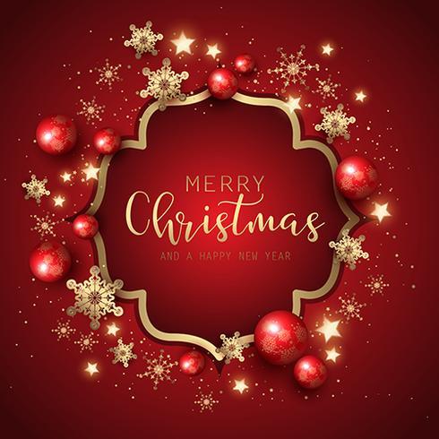 Sfondo decorativo di Natale e Capodanno con fiocchi di neve e vettore