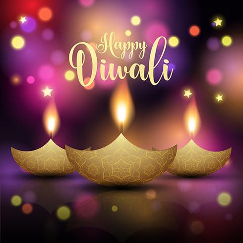 Priorità bassa decorativa della lampada di Diwali vettore