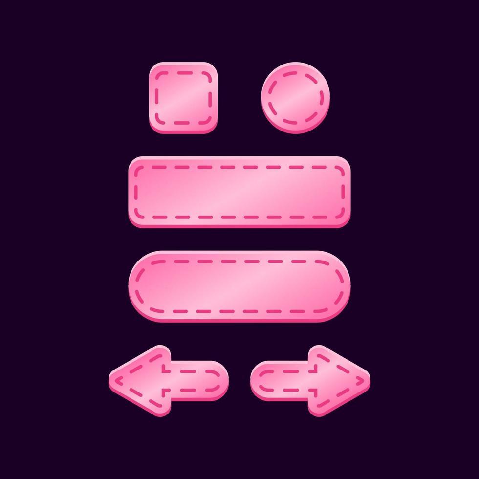 set di gioco ui kit pulsante rosa lucido per illustrazione vettoriale elementi asset gui