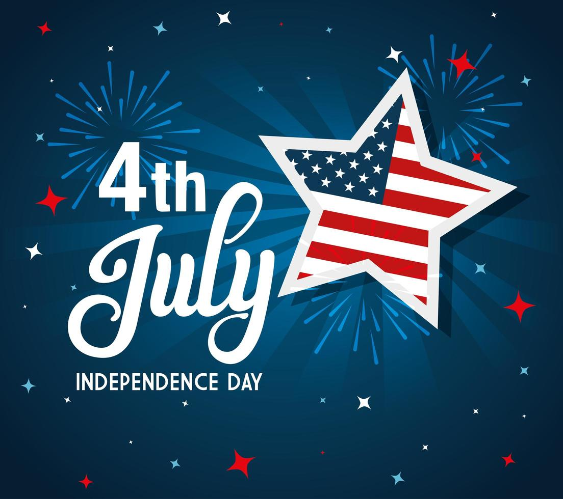 4 luglio felice giorno dell'indipendenza con stelle e bandiera usa vettore