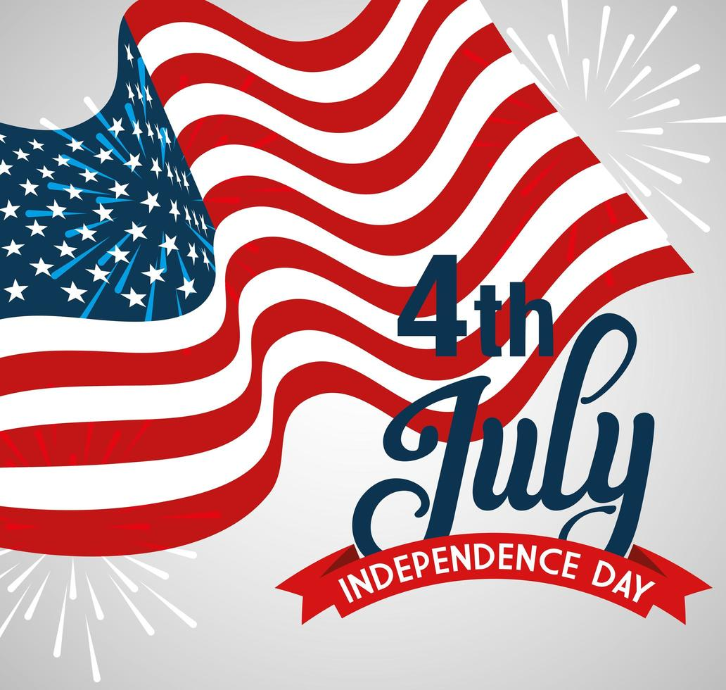 4 luglio felice giorno dell'indipendenza con decorazione bandiera vettore