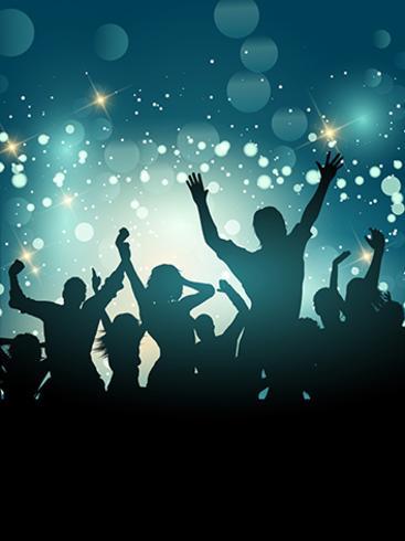 Silhouette di una folla di festa eccitata vettore