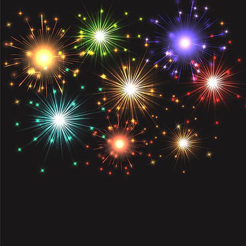 Fuochi d'artificio che esplodono vettore