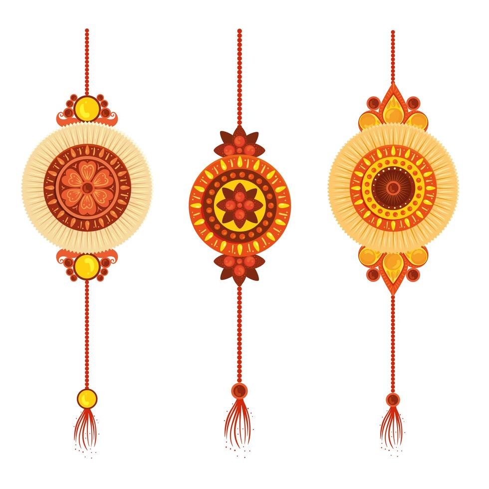 set di rakhi, raksha bandhan, tradizione indù della cultura del festival dell'India vettore