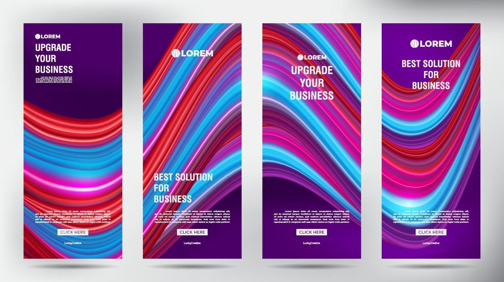 mesh colore flusso roll up brochure aziendale flyer banner design modello verticale, sfondo presentazione copertina, pubblicazione moderna x-banner e flag-banner, set di roll up banner stand modello vettore