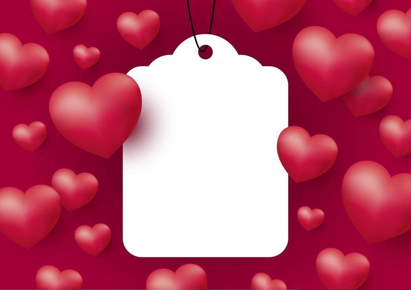 cuori con etichetta bianca vuota su sfondo rosso per la festa della mamma delle donne di San Valentino e illustrazione vettoriale di nozze