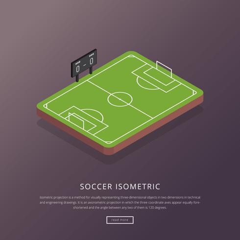 Illustrazione isometrica di calcio vettore
