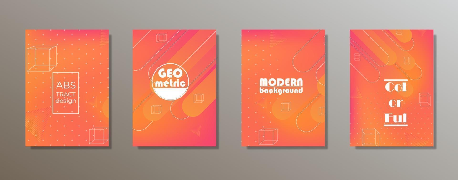 design colorato e minimalista delle copertine. gradienti di motivi geometrici minimi vettore