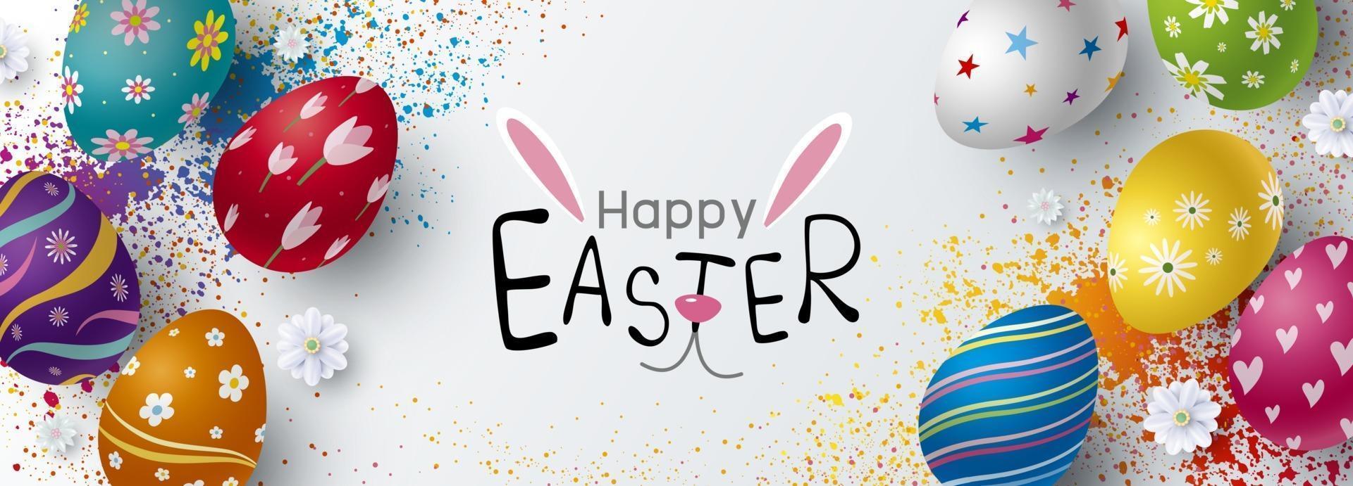 Pasqua banner design di uova e fiori illustrazione vettoriale