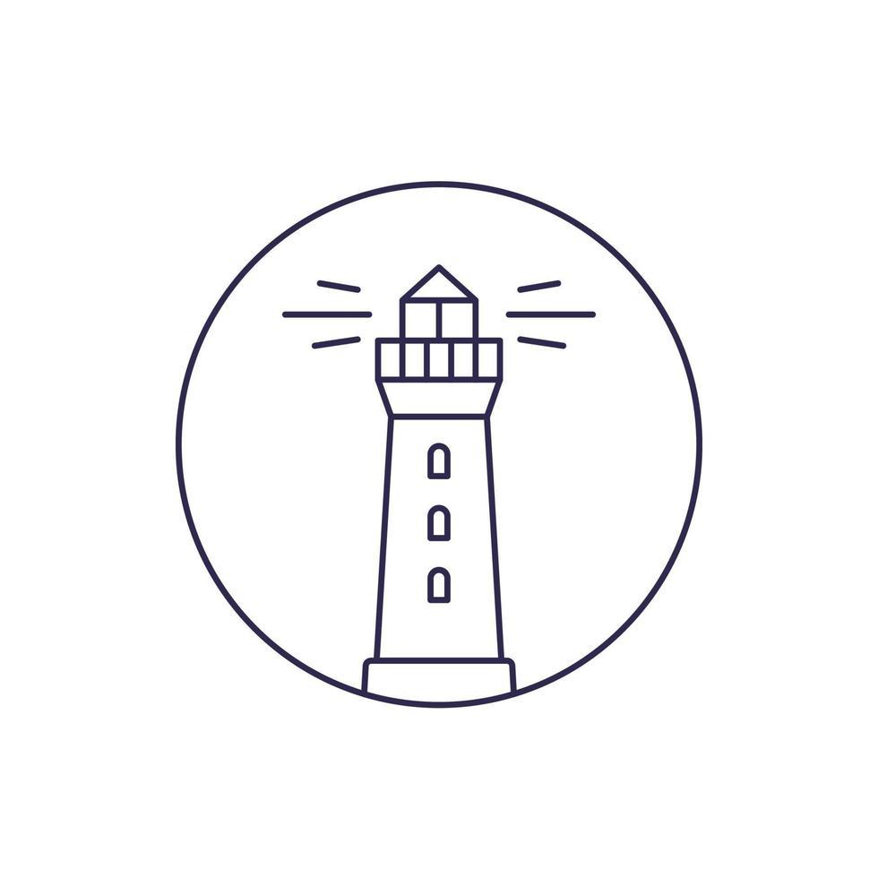 icona di linea del vettore del faro su white.eps