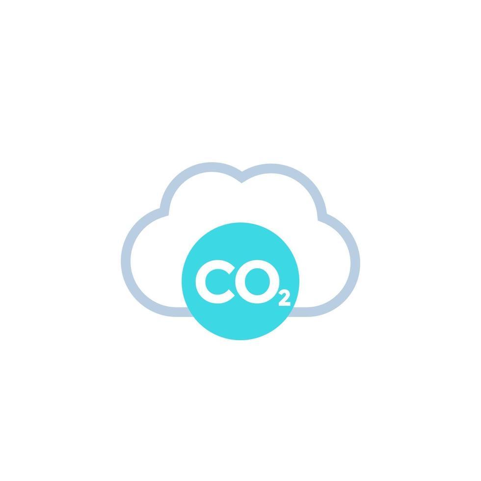 co2, icona della nuvola di emissioni di carbonio su white.eps vettore