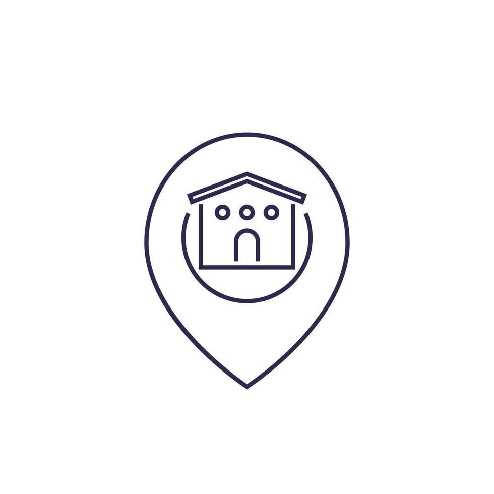 icona di magazzino con marchio, linea vector.eps vettore
