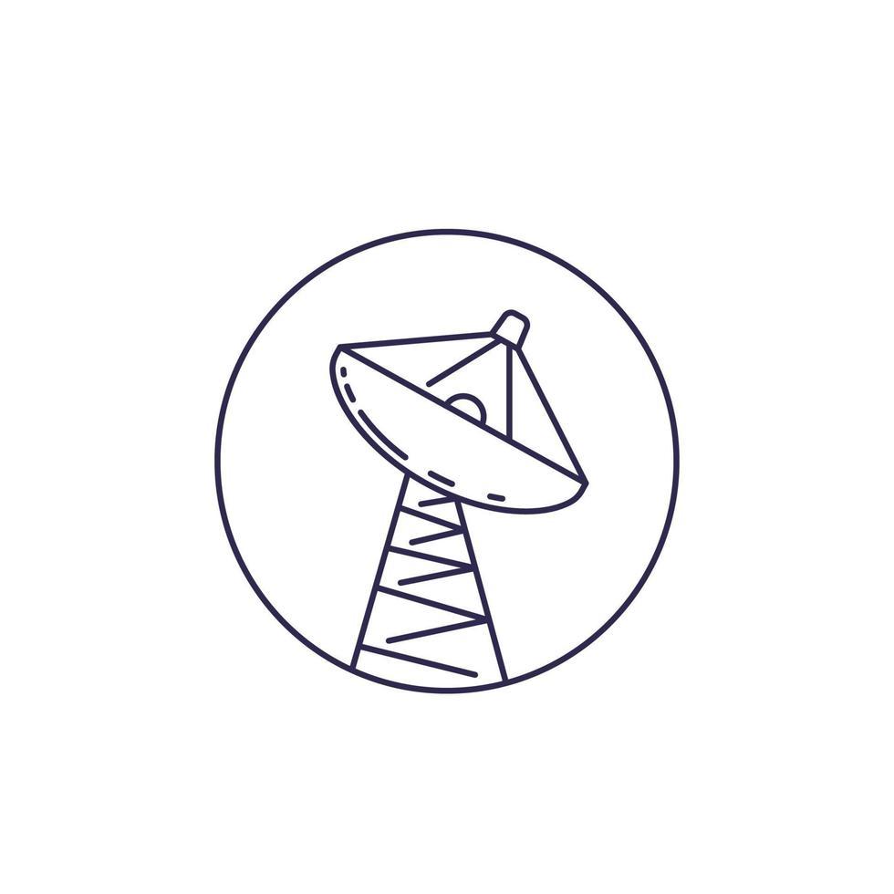 parabola satellitare, grande antenna linea del vettore icon.eps
