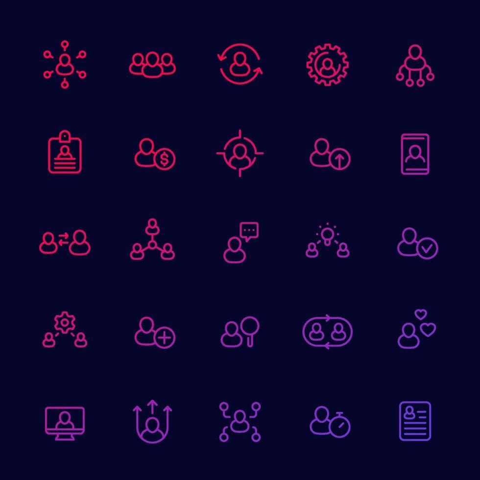 risorse umane e gestione del personale, set di icone lineari hr, interazione del personale e assunzione.eps vettore