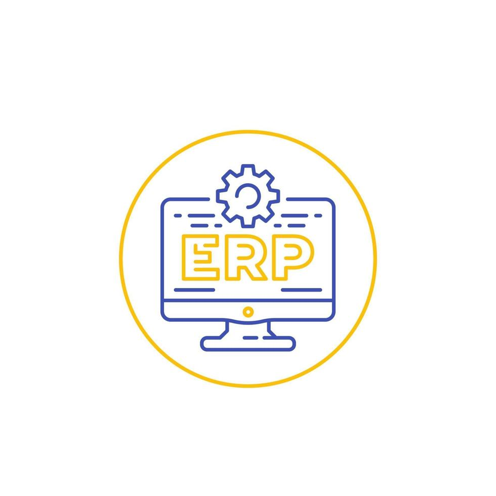 icona del software ERP con computer, linear.eps vettore