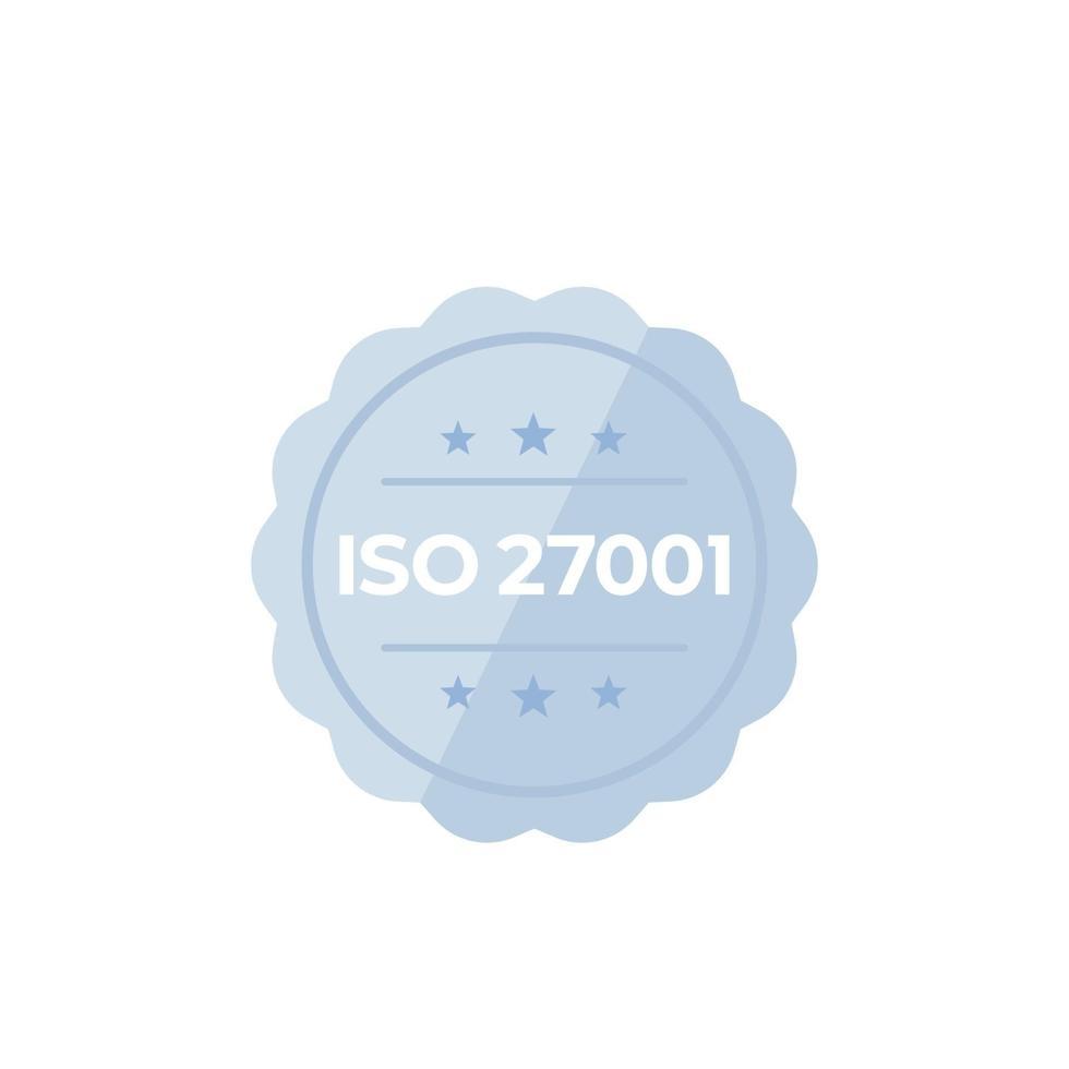 ISO 27001 standard, badge vettoriale su white.eps