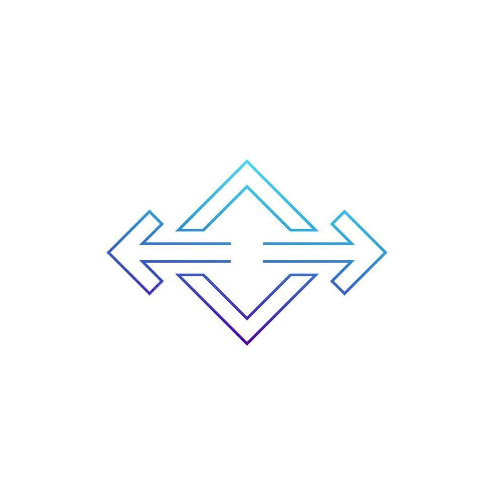 frecce puntate in due direzioni linea del vettore icon.eps