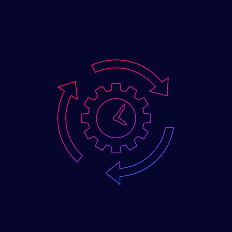 produttività ed efficienza, icona linea sottile.eps vettore