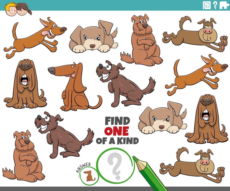 gioco unico nel suo genere per bambini con cani dei cartoni animati vettore