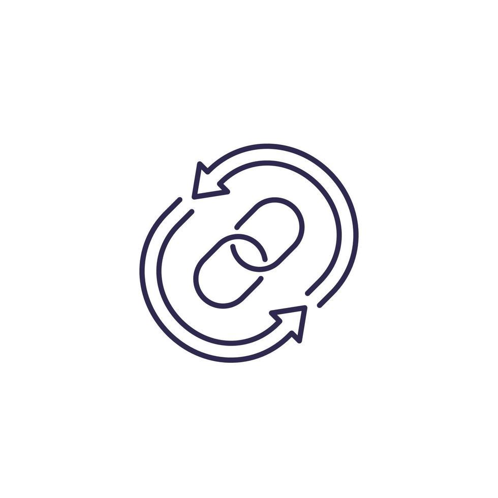 icona di linea del vettore a ritroso su white.eps
