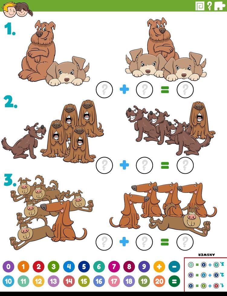 compito educativo di aggiunta di matematica con personaggi di cani vettore