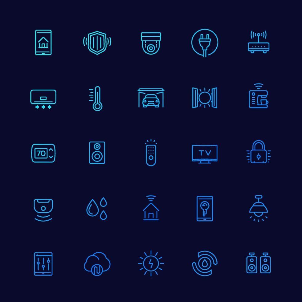 icone di casa intelligente e domotica, linea vector.eps vettore