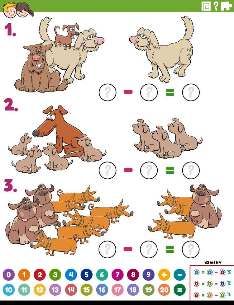 compito educativo di sottrazione matematica con cani dei cartoni animati vettore