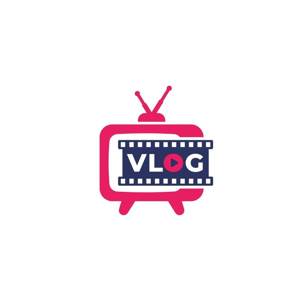 vlog logo vettoriale con vecchia tv.eps