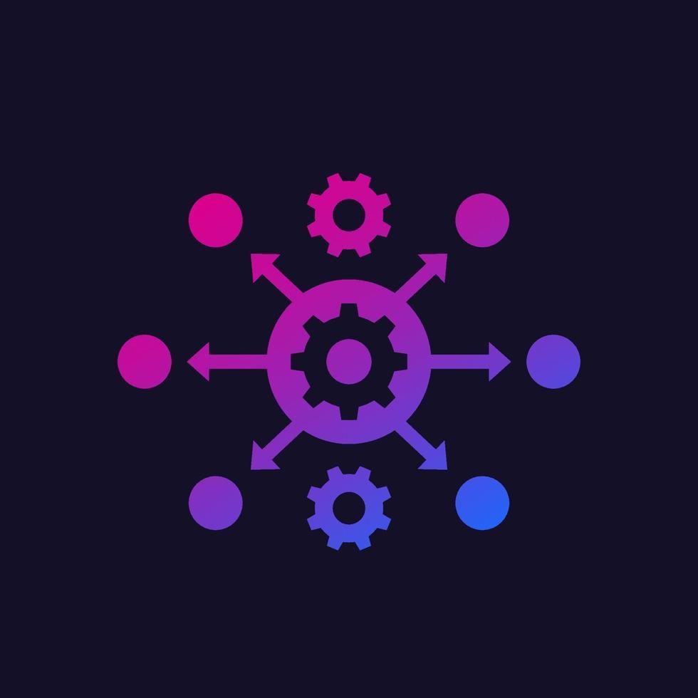 icona di automazione dei processi con ingranaggi, vector.eps vettore