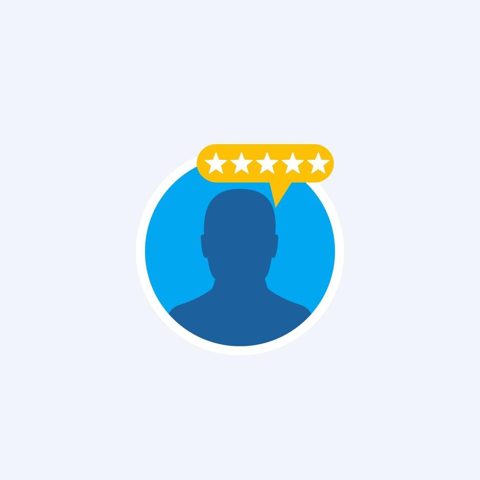 recensione del cliente, rating vector flat icon.eps
