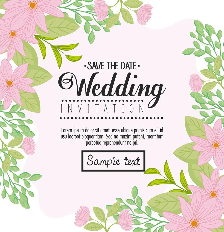 biglietto di auguri floreale con fiori per invito a nozze vettore