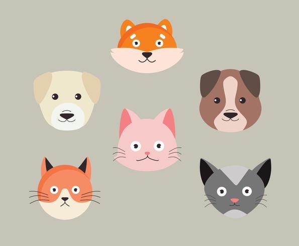 Vettore dei caratteri dei cuccioli e dei gattini