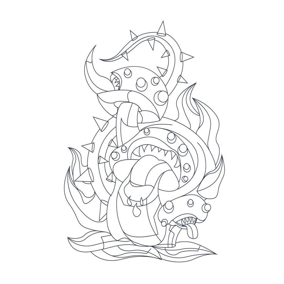 illustrazione disegnata a mano di vettore del mostro di funghi