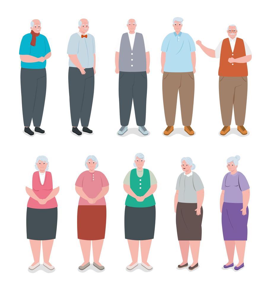 gruppo di anziani carini, nonni sorridenti vettore