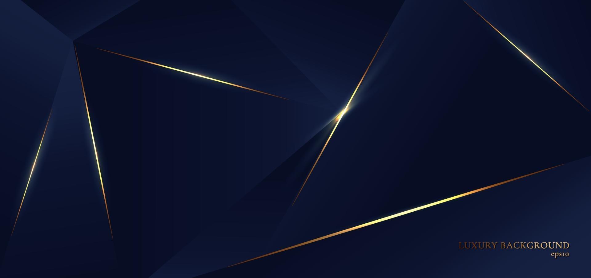 forme astratte triangolo blu poligono. pattern di sfondo con linea dorata ed effetto luminoso, stile di lusso. vettore