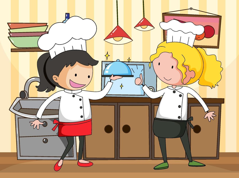 piccolo chef nella scena della cucina con attrezzature vettore