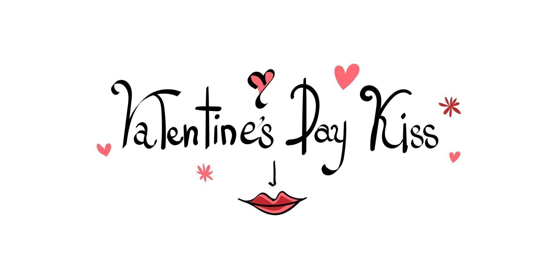 sfondo di bacio di san valentino con motivo a cuore e tipografia del testo di script di bacio di san valentino vettore