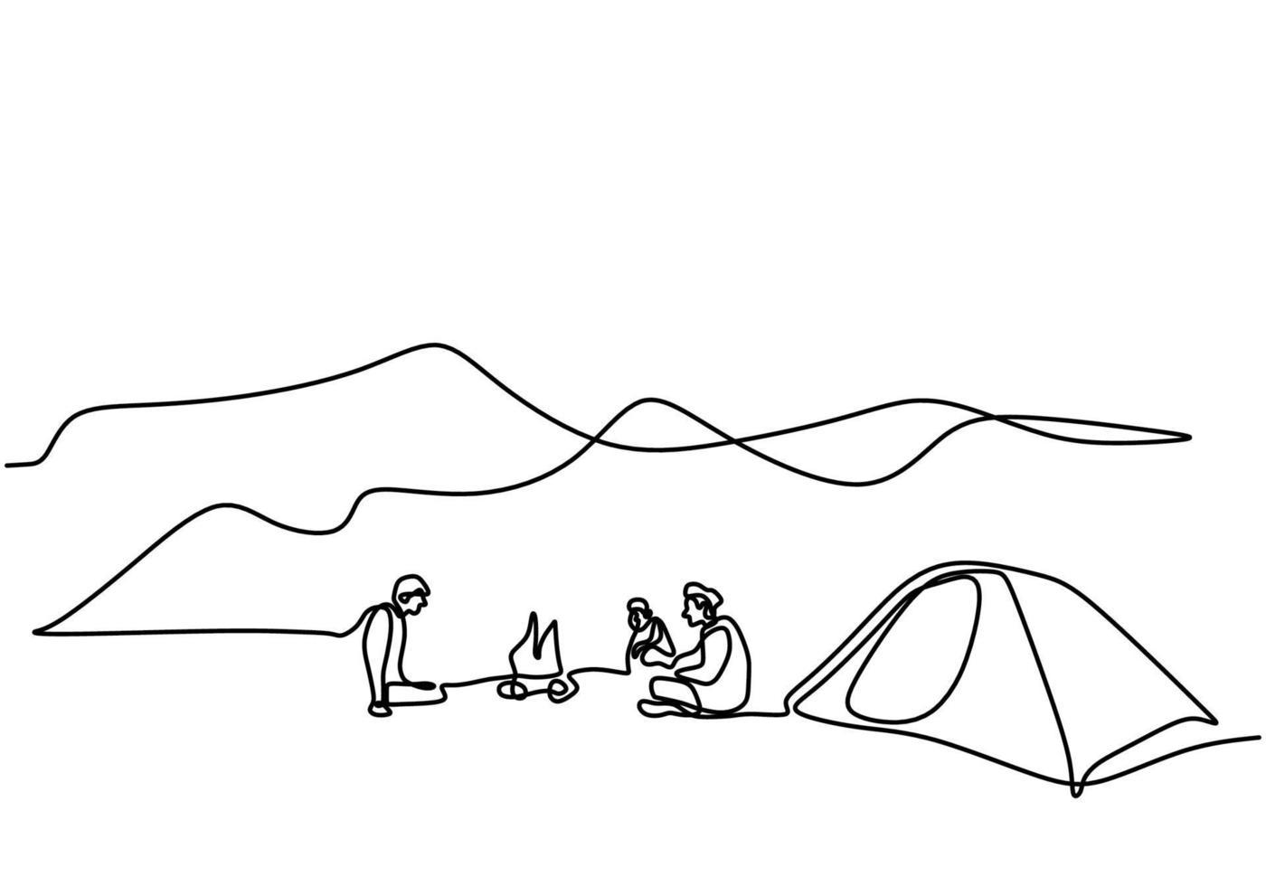 una linea di disegno persone in campeggio. giovane godere di attività all'aperto con tende e falò. campeggio d'avventura ed esplorazione. maschio eccitato dal campeggio in montagna a godersi la natura vettore