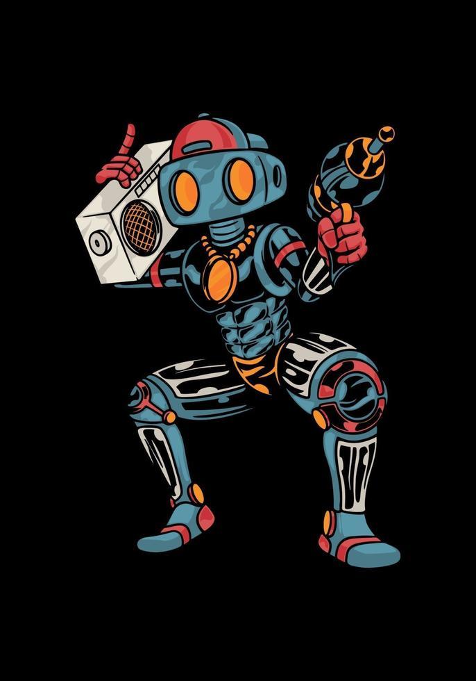 illustrazione divertente robot portando radio vintage vettore