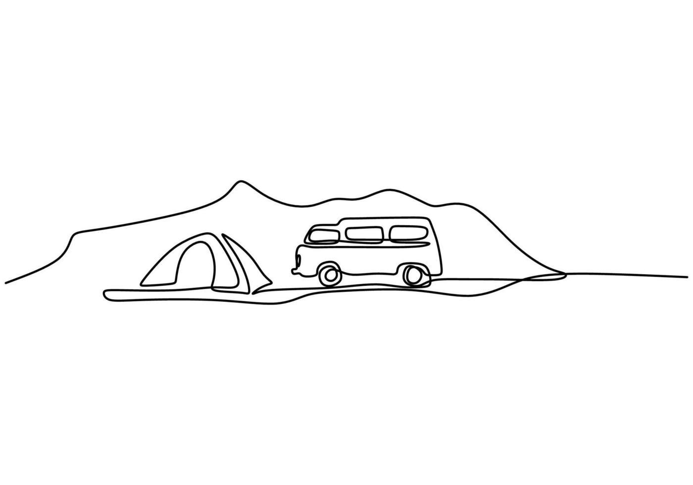 disegno linea continua camper. un camper e una tenda in montagna isolati su sfondo bianco. il concetto di muoversi in un camper, campeggio familiare, campeggio, roulotte. illustrazione vettoriale