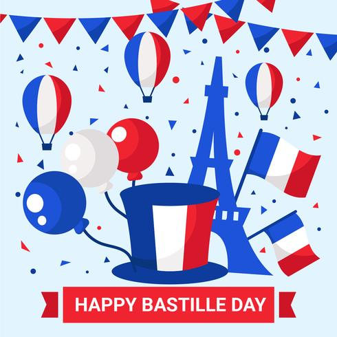 14 luglio Happy Bastille Day Vector