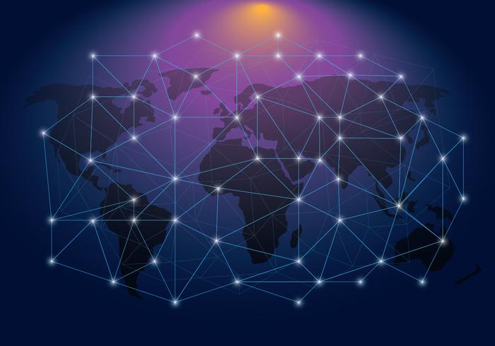 Rete Ethereum su una mappa del mondo vettore