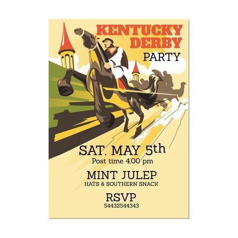 Illustrazione Kentucky Derby o qualsiasi evento a tema a cavallo con vista prospettica vettore
