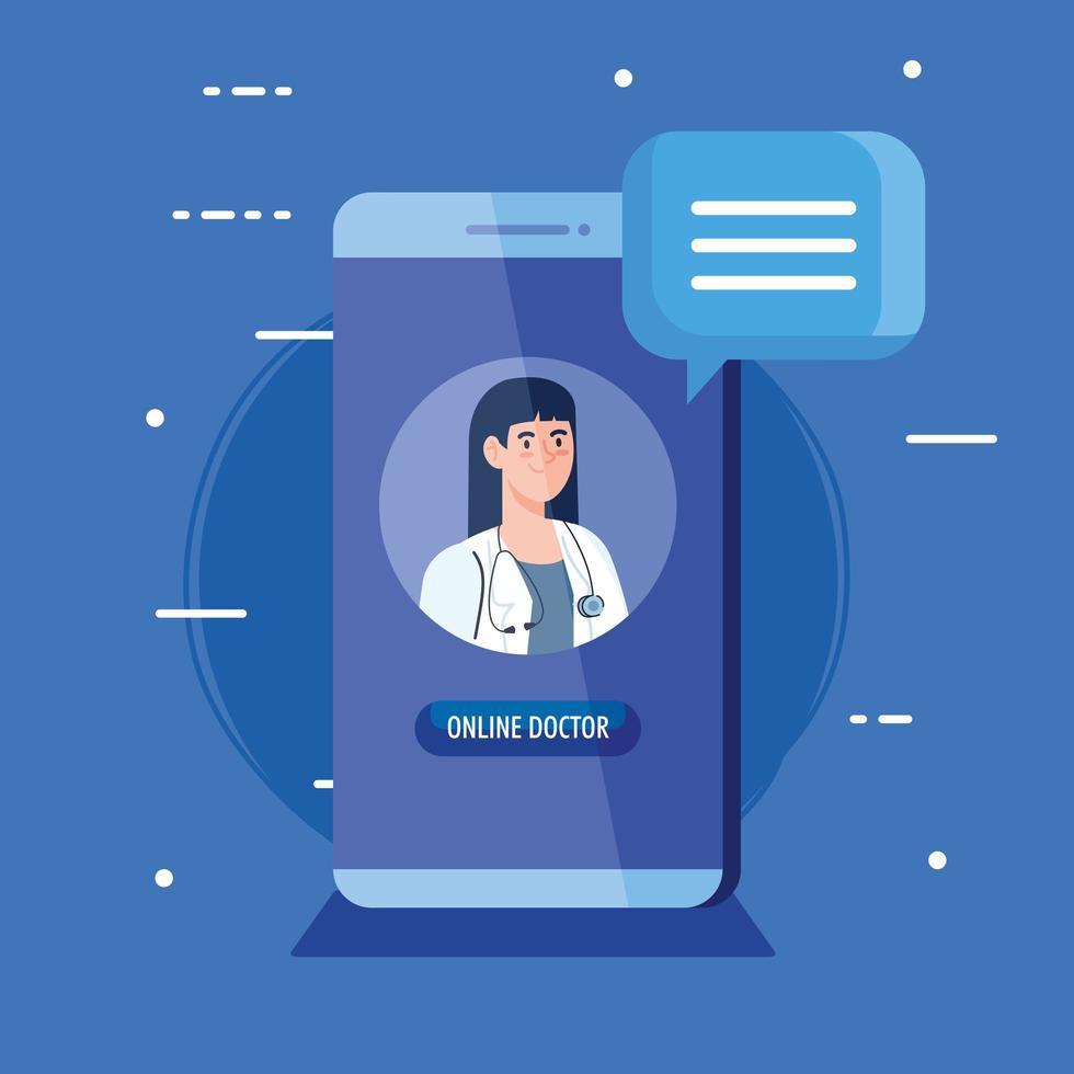 dottoressa sullo smartphone, concetto di medicina online vettore