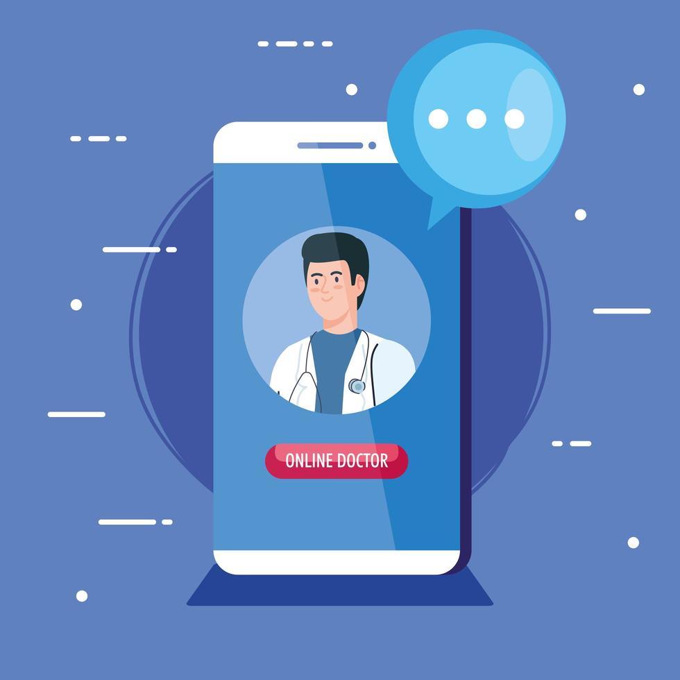 medico maschio sullo smartphone, concetto di medicina online vettore