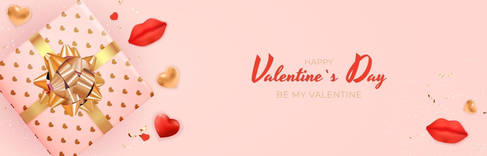 design di banner di San Valentino con testo su sfondo rosa vettore